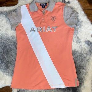 Ariat Peach and Tan Riding Polo Shirt M